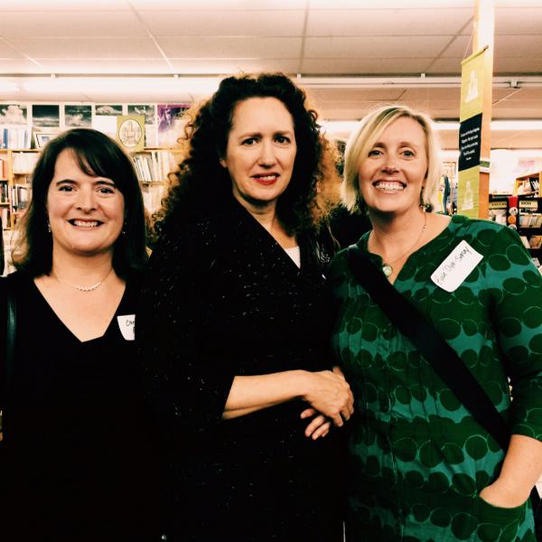 Authors Christine Finlayson, Angela M. Sanders, and Kate Dyer-Seeley at the StoryCon 2014 reception hosted by Vintage Books, Vancouver, WA.