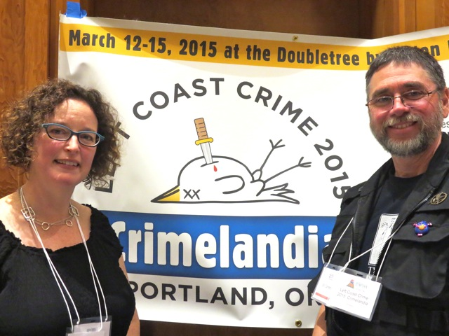 Mystery authors Lisa Alber and Bill Cameron host the Left Coast Crime booth at Stumptown Lit.